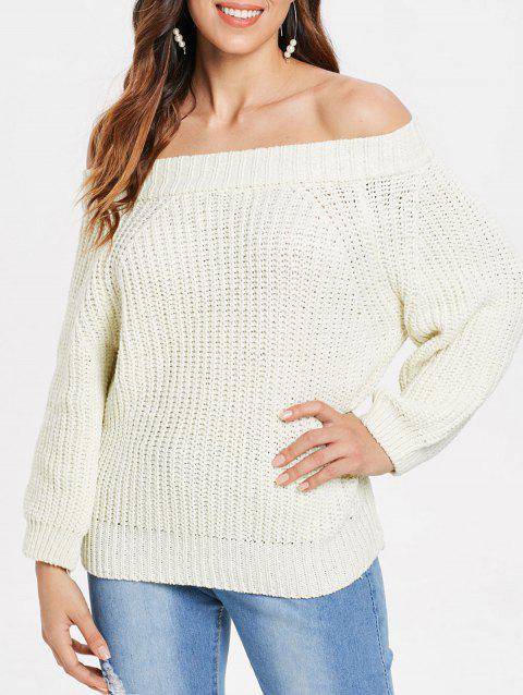 Off Shoulder Chunky Pullover Sweater - BEIGE ONE SIZE