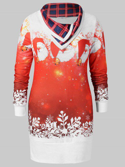 Christmas Plus Size Printed Tunic Sweatshirt - WHITE 4X