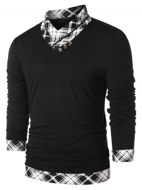 Checked Print Heaps Collar Casual T-shirt - BLACK 2XL