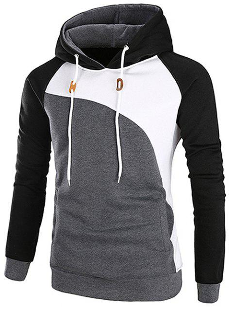 Color Blocking Drawstring Pullover Hoodie - BLACK L