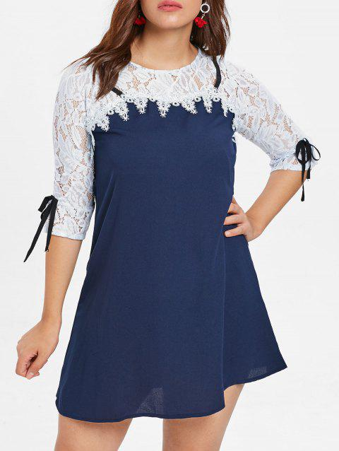 Plus Size Tied Sleeve Lace Sleeve A Line Dress - NAVY BLUE 5X