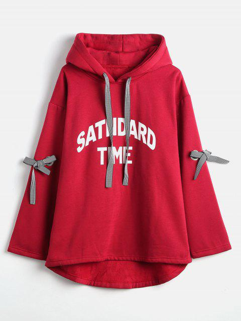 Plus Size Grommet Letter Print Hoodie - RED L
