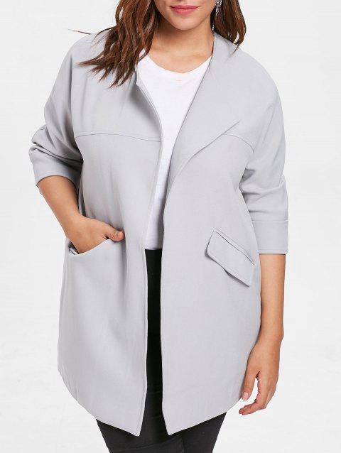 Turn Down Collar Drop Shoulder Plus Size Coat - GRAY 4X