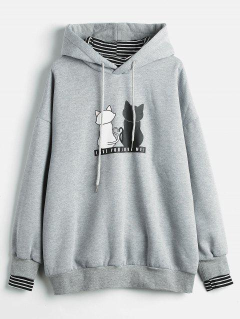 Plus Size Striped Panel Graphic Hoodie - LIGHT GRAY 1X