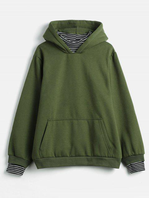Plus Size Striped Panel Hoodie - ARMY GREEN 2X