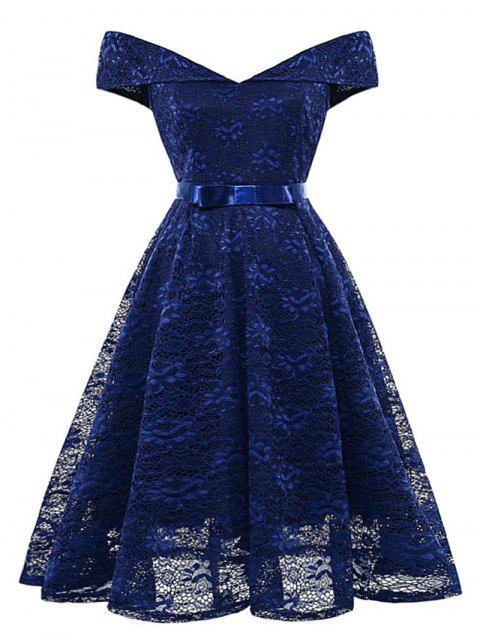 Plus Size Off The Shoulder Lace Flare Dress - MIDNIGHT BLUE L