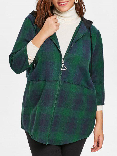 Plus Size Plaid Drawstring Hooded Coat - MEDIUM FOREST GREEN L