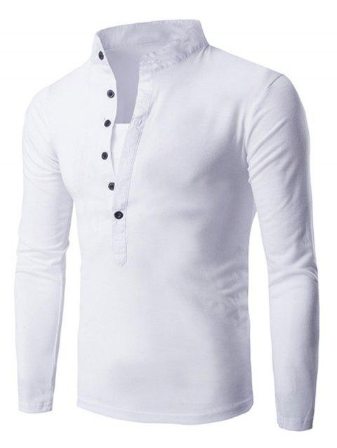 Solid Stand Collar Long Sleeve T-shirt - WHITE M