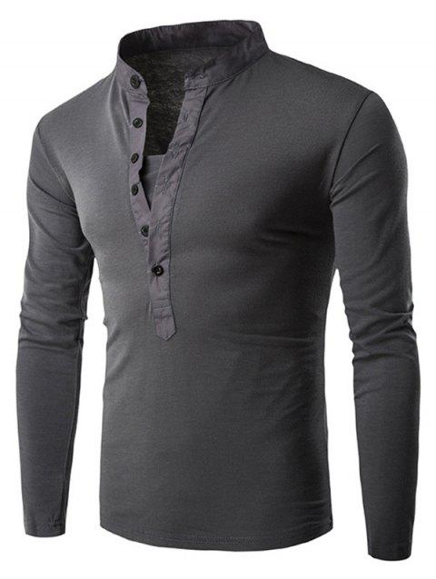 Solid Stand Collar Long Sleeve T-shirt - DARK GRAY L