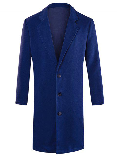 Lapel Collar Single Breasted Longline Blazer - CADETBLUE XL