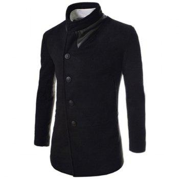 Trendy Slimming Stand Collar Long Sleeves Single-Breasted Design Solid Color Men's Long Woolen Overcoat