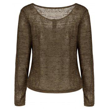 Pullover Long Sleeve Scoop Neck Solid Color Blouse For Women - ARMY GREEN M
