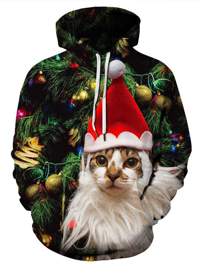 Plus Size Christmas Party Hoodie - multicolor 1X