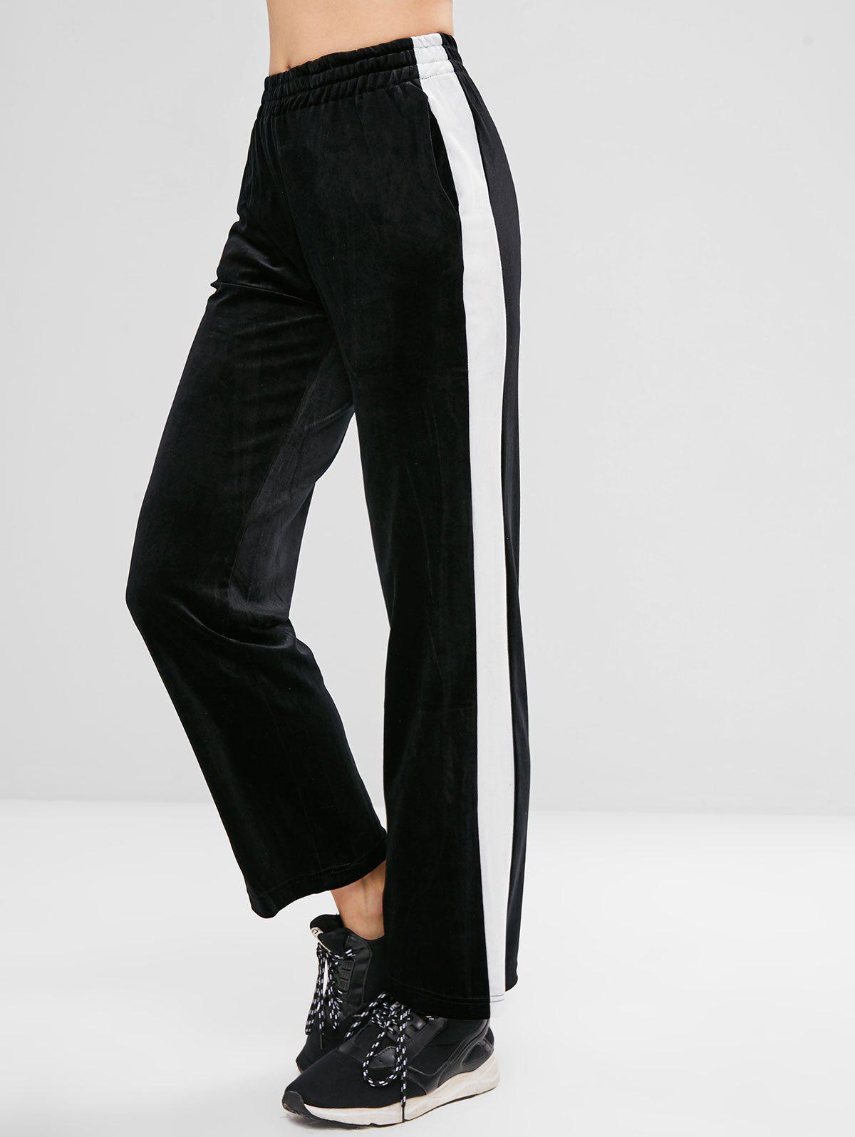 Contrast Trim Velvet Wide Leg Pants - BLACK L