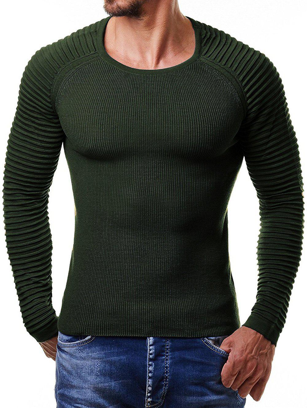 Pleated Raglan Sleeve Pullover Sweater - ARMY GREEN M