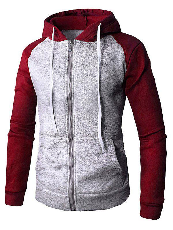 Contrast Color Zipper Placket Pockets Hoodie - RED WINE XS