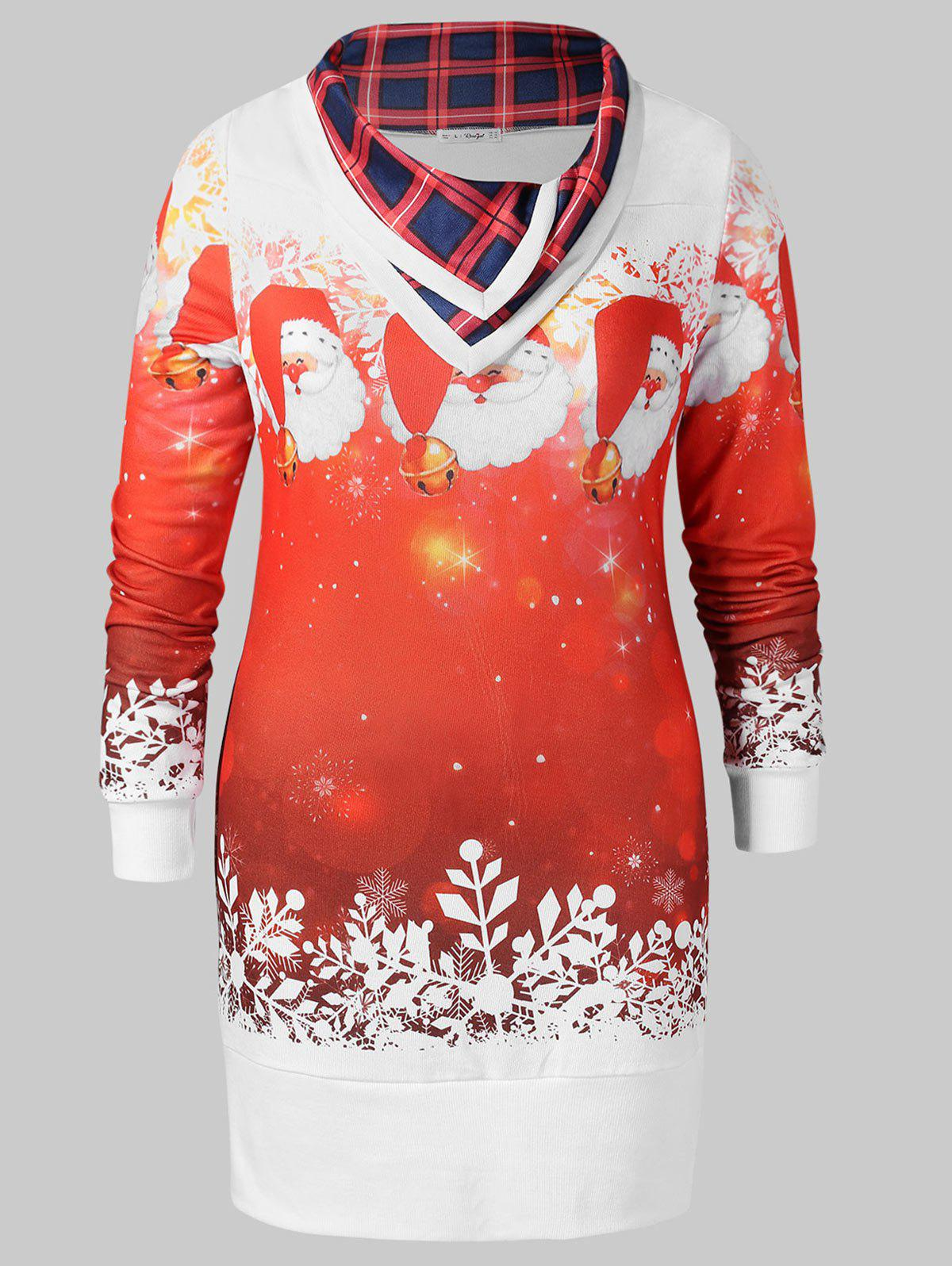 Christmas Plus Size Printed Tunic Sweatshirt