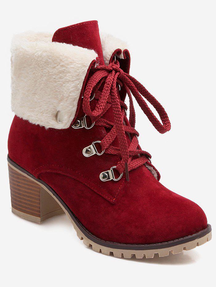 Plus Size Fuzzy Lacing Chunky Heel Snow Boots - RED WINE EU 37