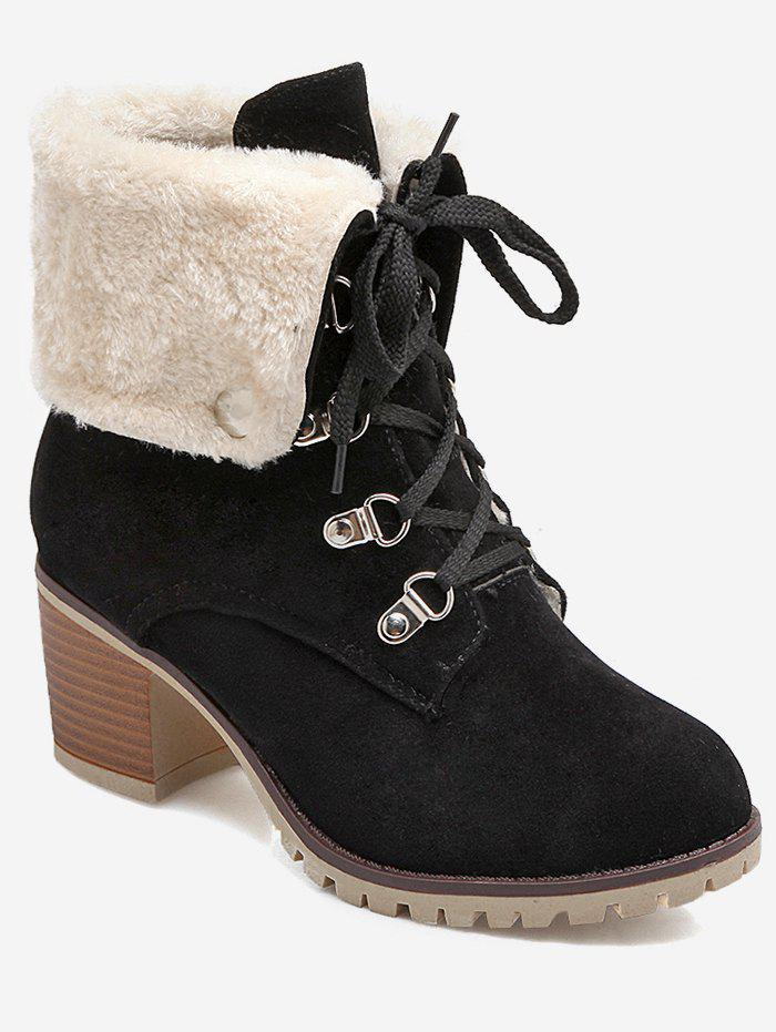 Plus Size Fuzzy Lacing Chunky Heel Snow Boots - BLACK EU 40