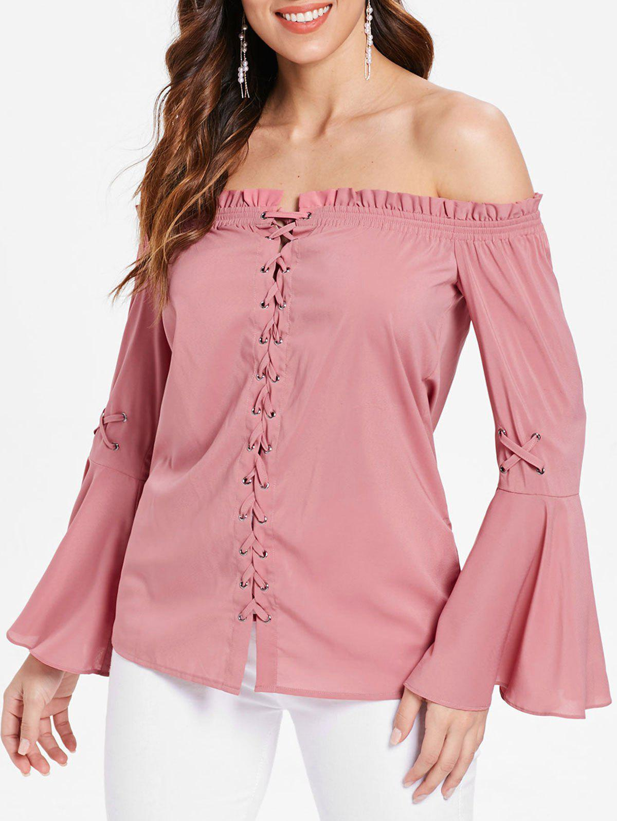 Long Sleeve Lace Up Ruffled Trim Blouse - PINK 2XL