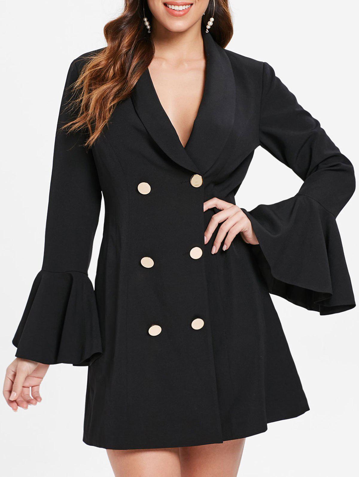 Flare Sleeve Double Breasted Dress - BLACK XL