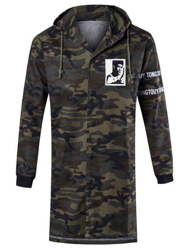 Graphic Letter Print Hooded Camo Coat