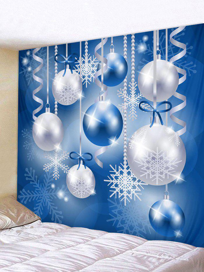 Christmas Snowflake Ball Wall Tapestry Decoration - multicolor W91 X L71 INCH