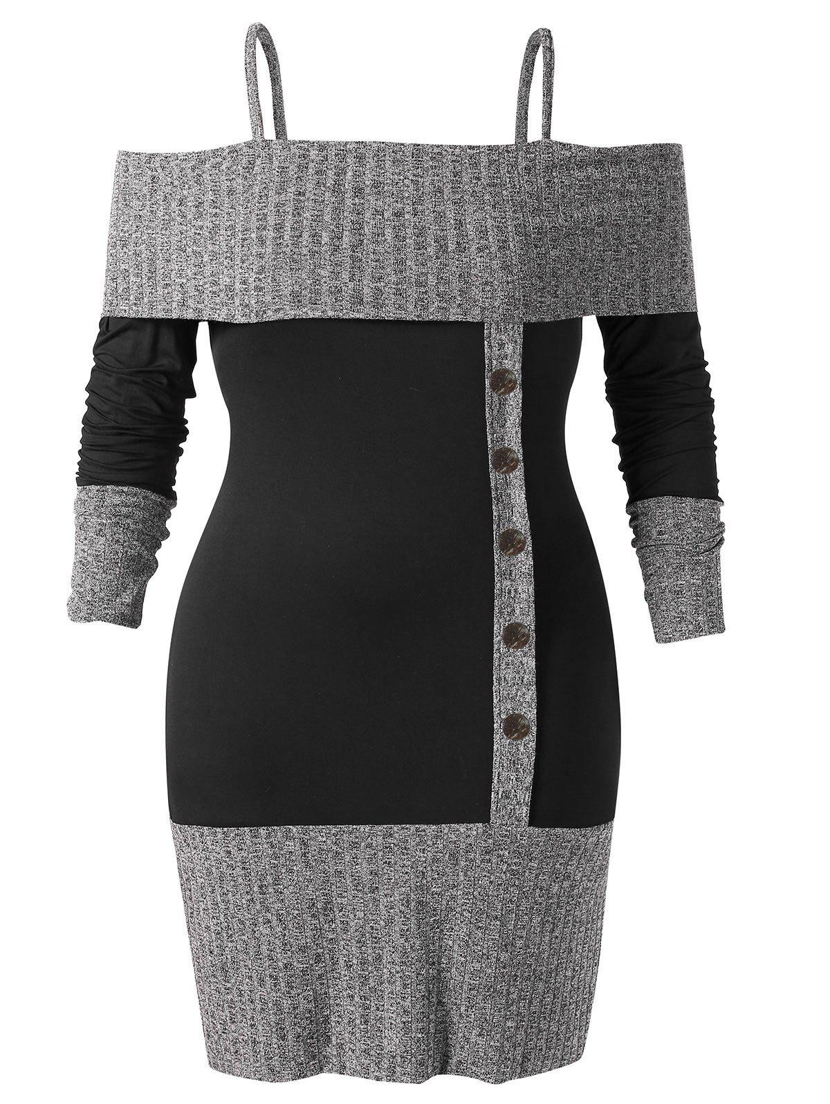 Plus Size Open Shoulder Two Tone Knitwear