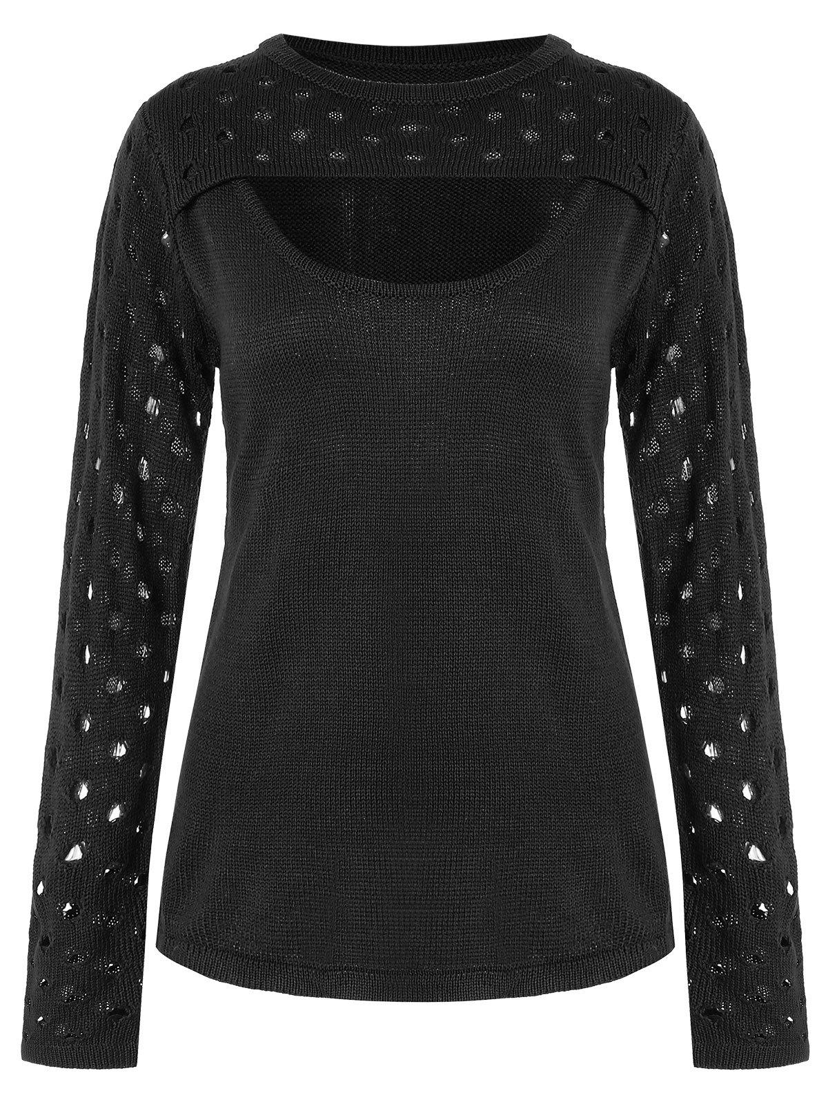 Holes Detail Keyhole Cut Front Sweater - BLACK S