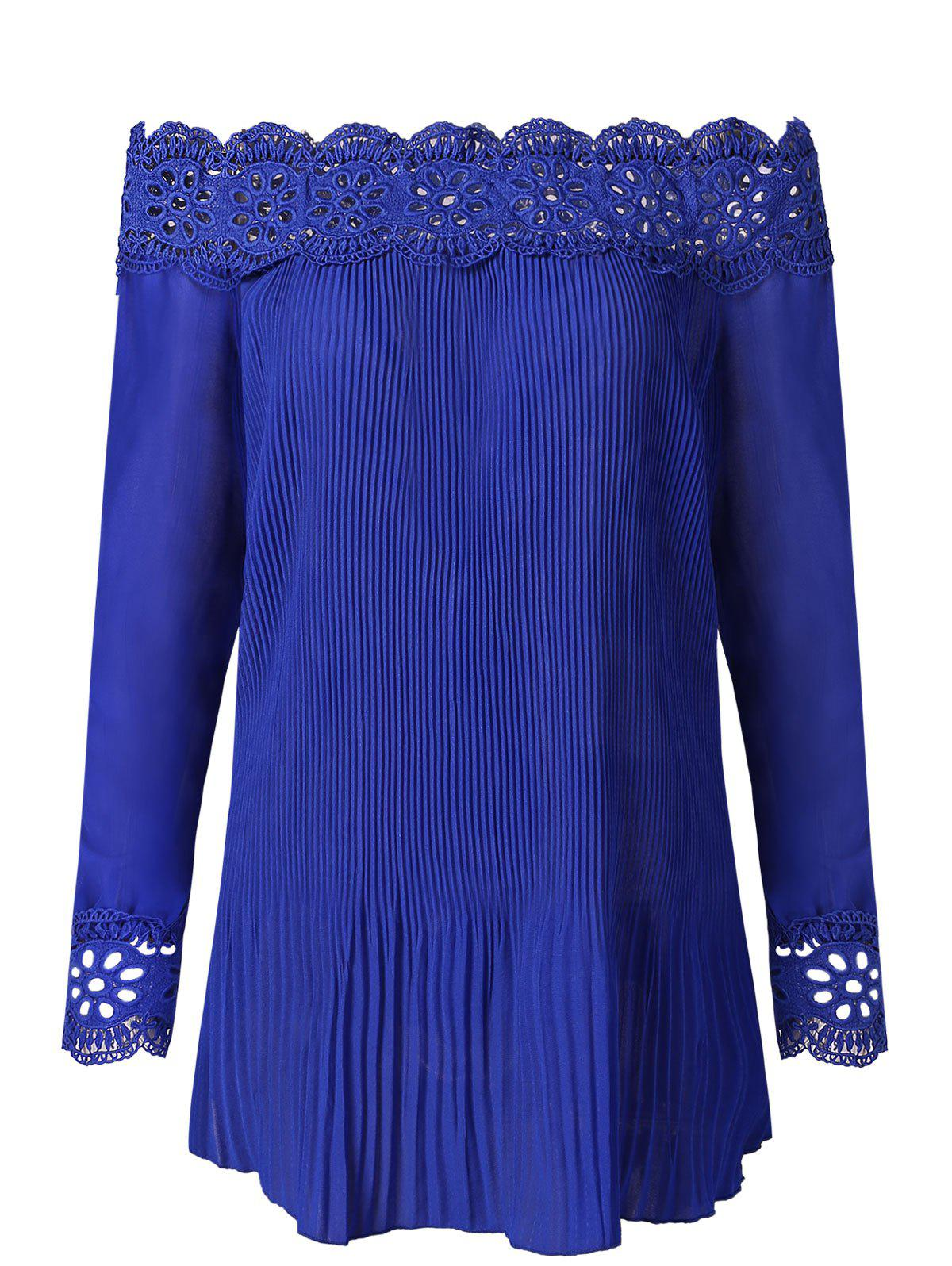 Lace Crochet Pleated Blouse - ROYAL BLUE M