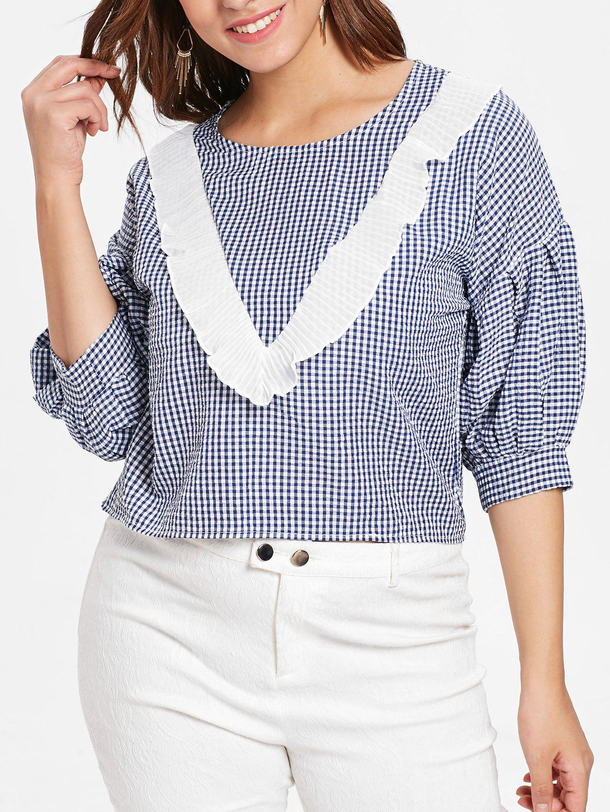 Plus Size Ruffle Gingham Shirt - BLUE 3X
