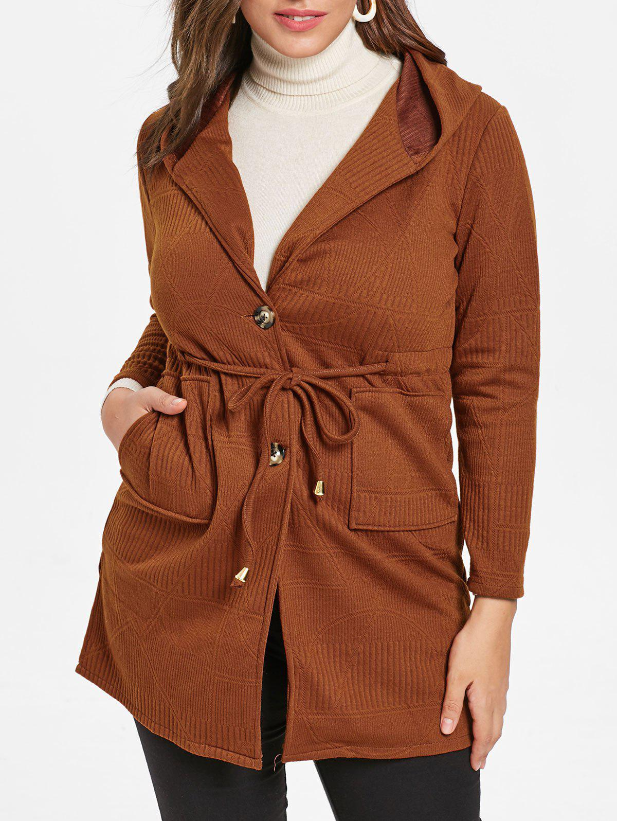 Plus Size Front Pockets Drawstring Waist Coat - BROWN 5X