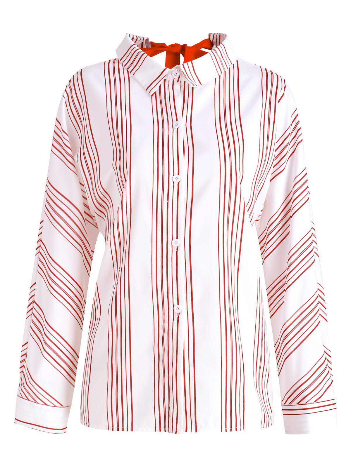 Tie Back Striped Button Up Shirt фото