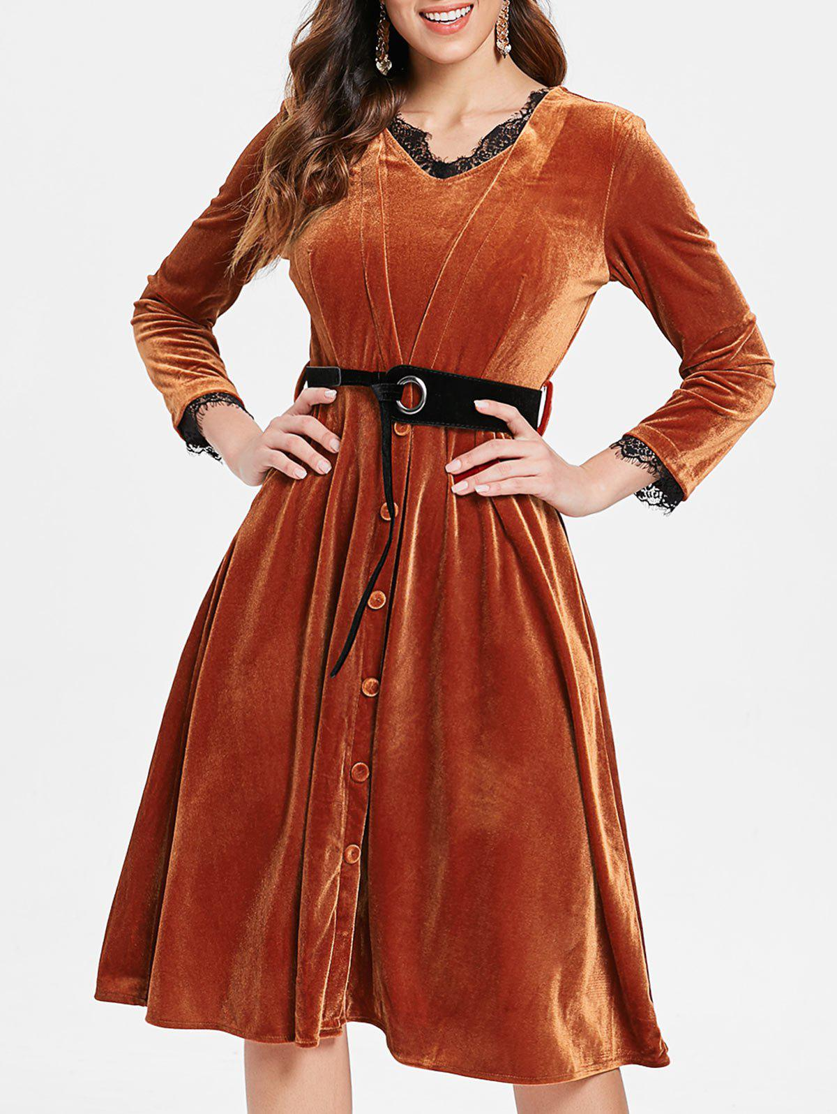 Lace Trim Long Sleeve Velvet Flare Dress - BROWN XL