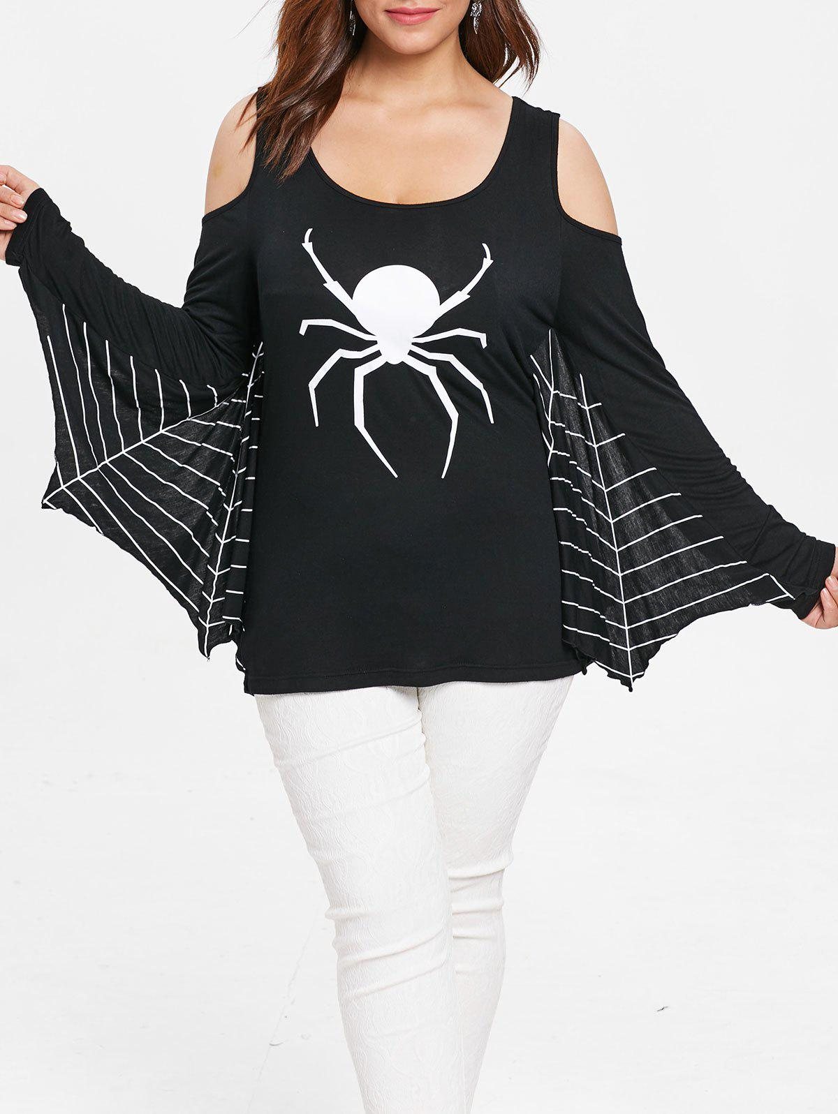 Plus Size Open Shoulder Spider Web Tee - BLACK L