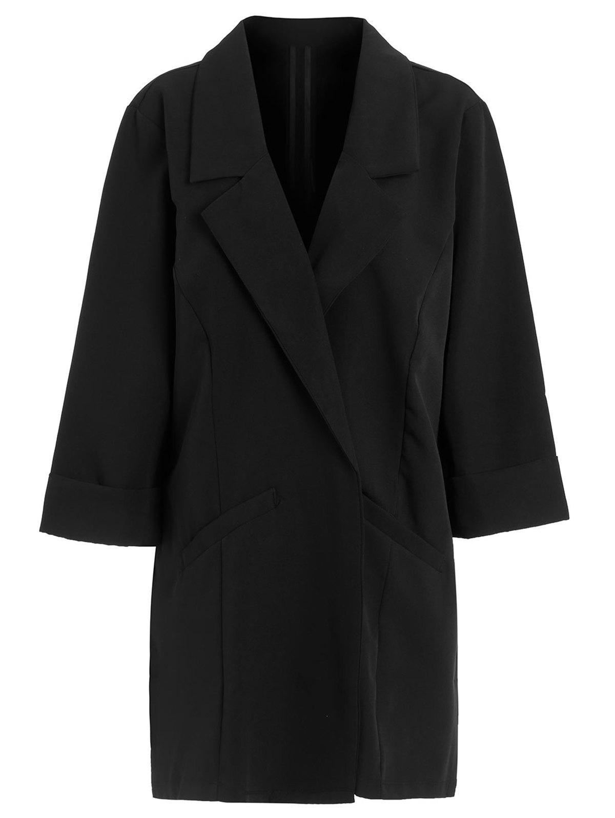 Open Front Lapel Coat - BLACK XL