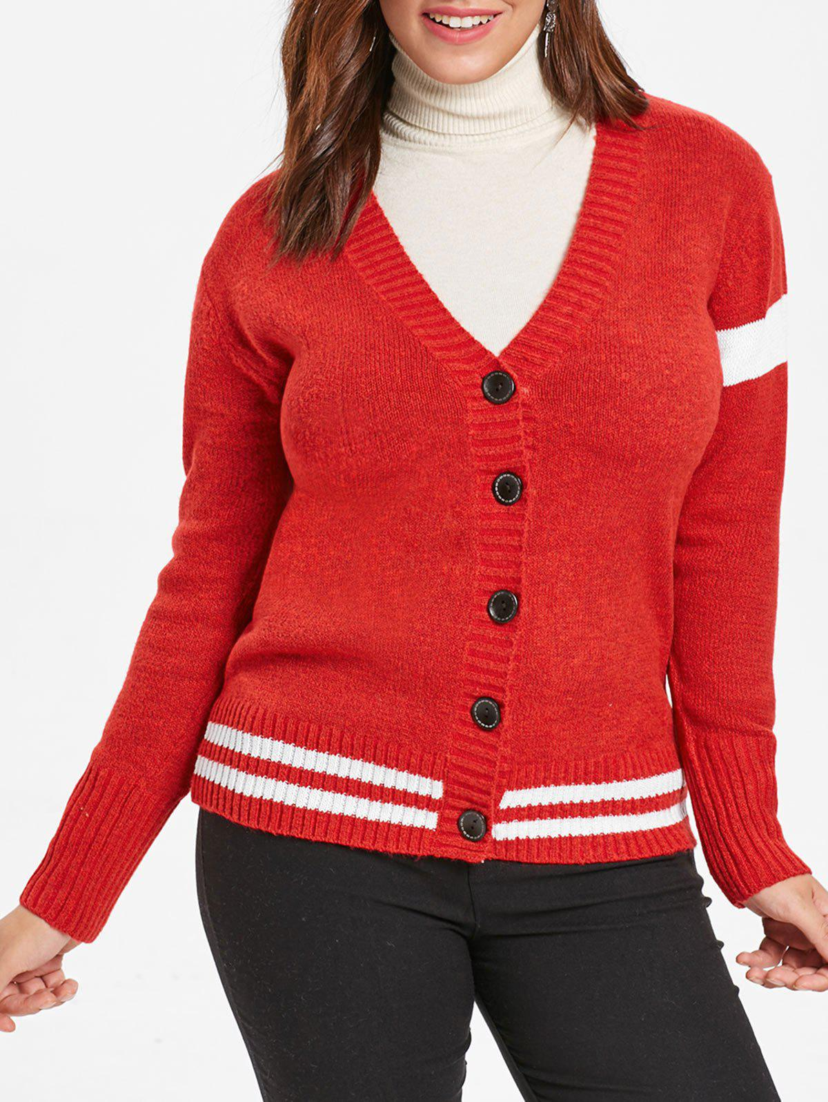 Plus Size Striped Detail Sweater Cardigan - RUBY RED L