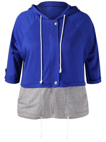 Plus Size Drawstring Contrast Faux Twinset Hoodie