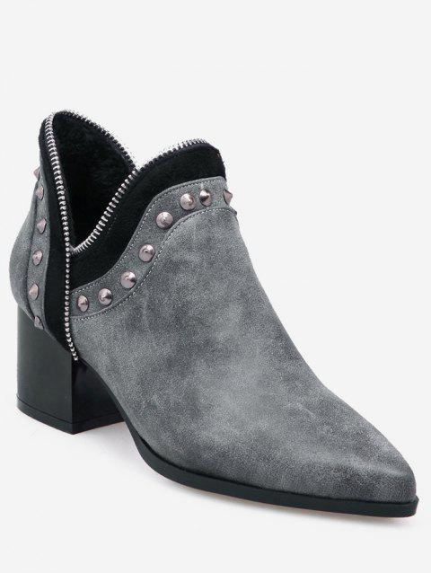 Plus Size V Cut Studded Mid Heel Boots - GRAY EU 40