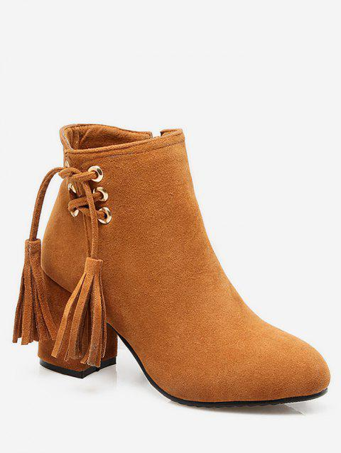 Plus Size Tassels Chunky Heel Short Boots - LIGHT BROWN EU 41
