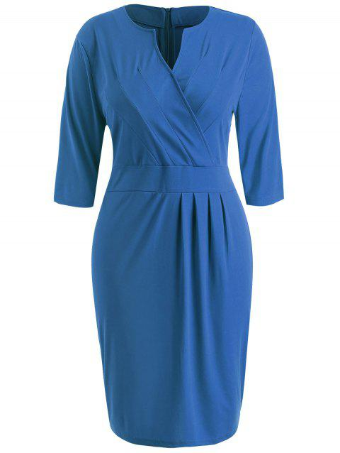 Plus Size Sheath V Neck Dress - SILK BLUE L