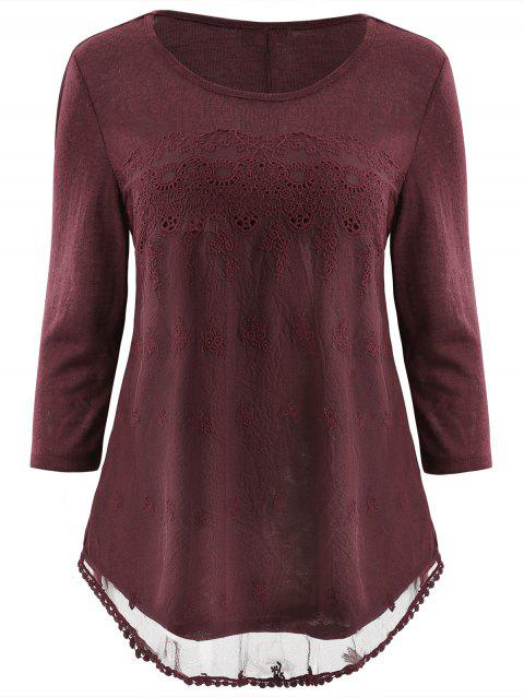 Embroidered Mesh Insert T-shirt - RED WINE XL