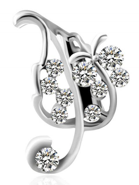 Leaf Design Artificial Diamond Brooch - SILVER