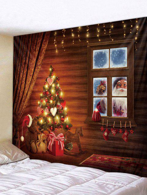 Father Christmas Gift Window Tapestry Art Decoration - multicolor W79 X L59 INCH