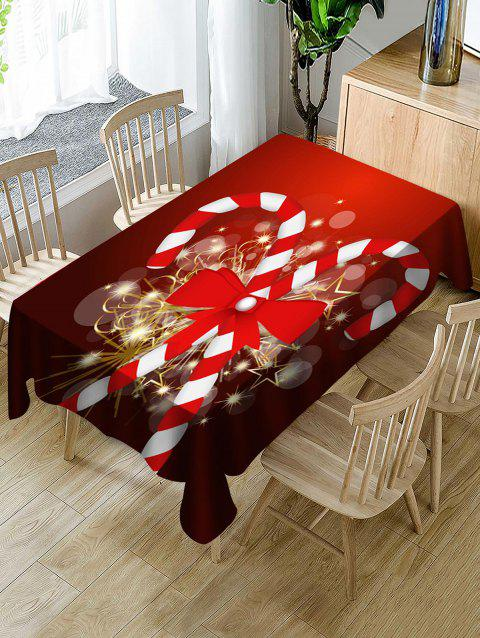 Christmas Candy Cane Print Waterproof Tablecloth - multicolor W54 X L54 INCH