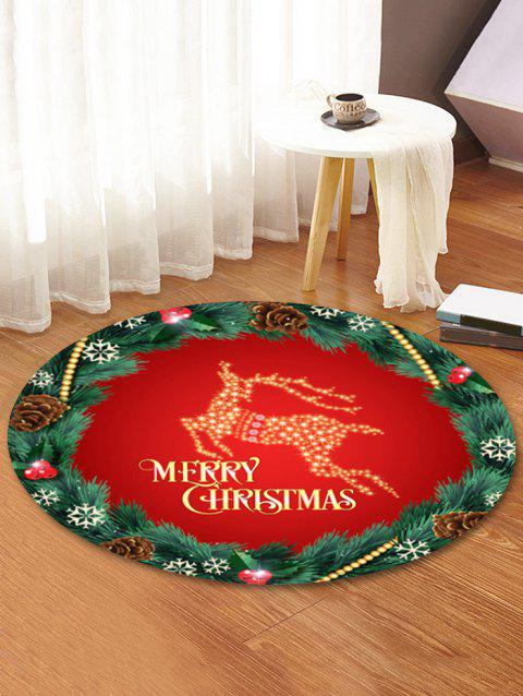 Christmas Wreath Elk Pattern Non-slip Round Rug - multicolor 80CM (ROUND)