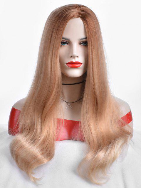 Side Parting Capless Long Straight Party Synthetic Wig - multicolor
