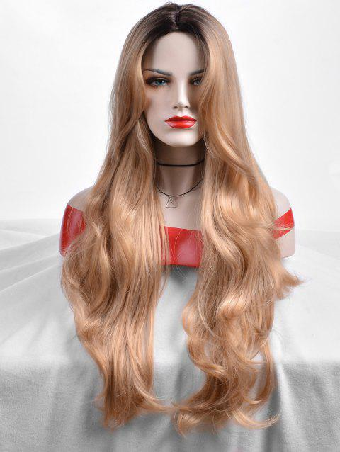 Middle Part Colormix Wavy Long Party Synthetic Wig - multicolor