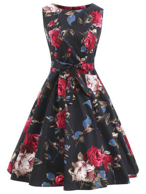 Floral Belted Retro Dress - NIGHT M