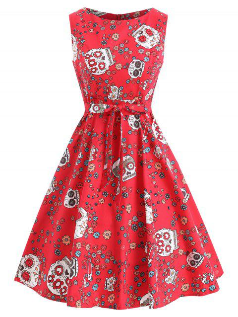 Halloween Belted Floral Skull Dress - LAVA RED L